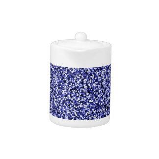 Sapphire Blue Faux Glitter Teapot