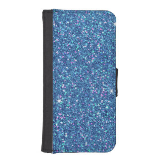 Sapphire Blue Glitter Effect Sparkle Wallet Phone Case For iPhone SE/5/5s