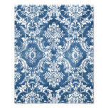 Sapphire Blue Grungy Damask Pattern Photographic Print