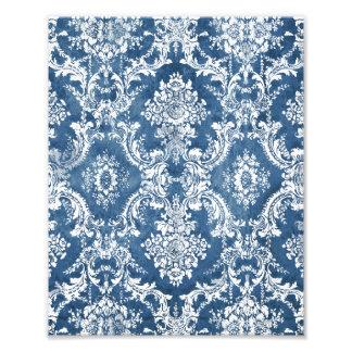 Sapphire Blue Grungy Damask Pattern Photo Print