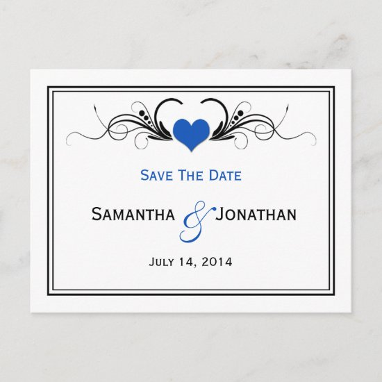 Sapphire Blue Heart Black Swirls Save The Date Announcement Postcard