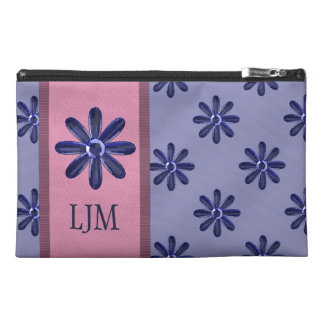'Sapphire' Blue Jewel Daisies (Customizable) Travel Accessory Bags