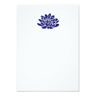 Sapphire Blue Lotus Flower Blank Invitation