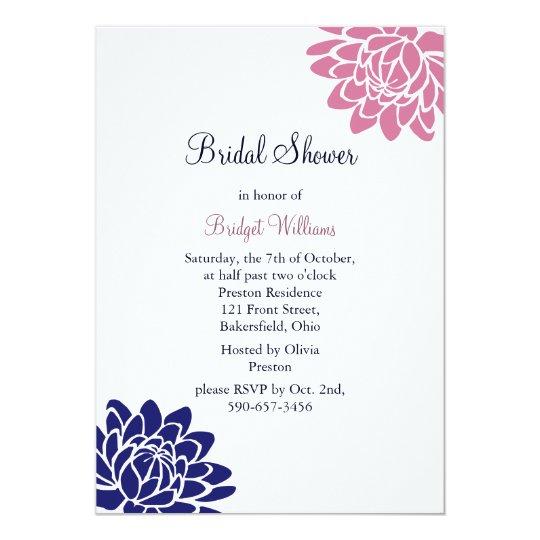 Sapphire Blue Lotus Flower Bridal Shower Card