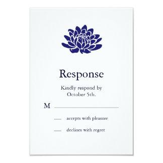 Sapphire Blue Lotus Flower RSVP 3.5x5 Paper Invitation Card
