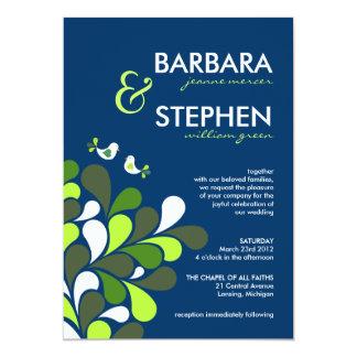 """Sapphire Blue & Mint Green Wedding Invitations 5"""" X 7"""" Invitation Card"""