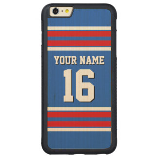Sapphire Blue Red White Team Jersey Sports Jersey Carved Maple iPhone 6 Plus Bumper Case