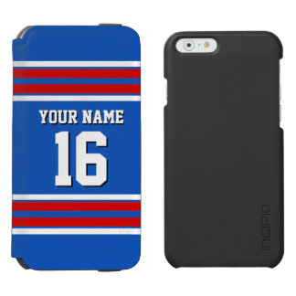 Sapphire Blue Red White Team Jersey Sports Jersey iPhone 6/6s Wallet Case