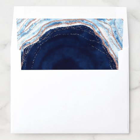Sapphire Blue Rose Gold Geode Agate Marble Wedding Envelope Liner