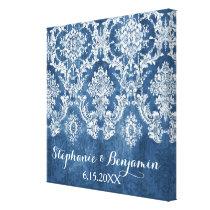 Sapphire Blue Rustic Damask Pattern Wedding Canvas Print
