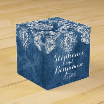 Sapphire Blue Rustic Damask Pattern Wedding Favor Favor Box