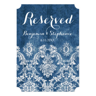 Sapphire Blue Rustic Damask Wedding Reserved Table Card