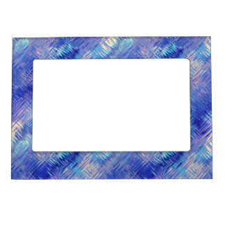 Sapphire Blue Scribbled Texture Magnetic Photo Frame