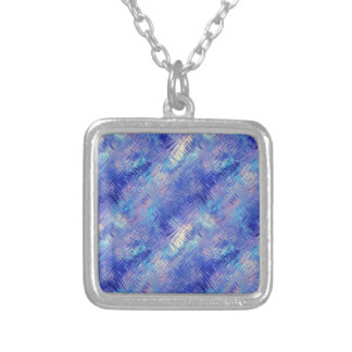 Sapphire Blue Scribbled Texture Silver Plated Necklace