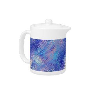 Sapphire Blue Scribbled Texture Teapot