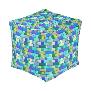 Sapphire Blue Tiles with Black Numbers Cube Pouf