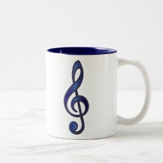 Sapphire Blue Treble Clef Coffee Mug