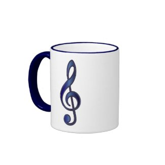 Sapphire Blue Treble Clef mug