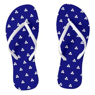 Sapphire-Blue Triple Polka-Dot Flip-Flops Flip Flops