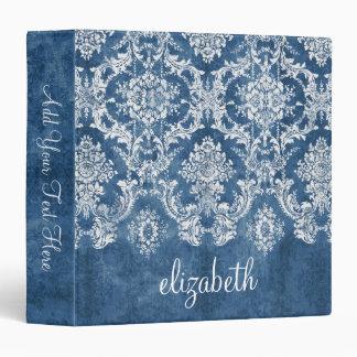 Sapphire Blue Vintage Damask Pattern and Name 3 Ring Binder