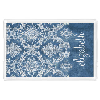 Sapphire Blue Vintage Damask Pattern and Name Rectangle Serving Trays
