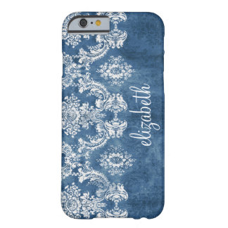 Sapphire Blue Vintage Damask Pattern and Name Barely There iPhone 6 Case