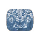 Sapphire Blue Vintage Damask Pattern and Name Candy Tin
