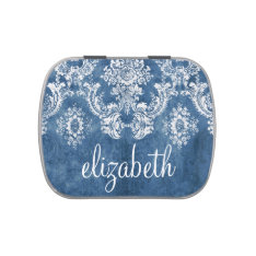 Sapphire Blue Vintage Damask Pattern and Name Candy Tin at Zazzle