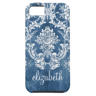 Sapphire Blue Vintage Damask Pattern and Name Cover For iPhone 5/5S