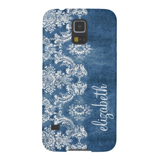Sapphire Blue Vintage Damask Pattern and Name Galaxy S5 Covers