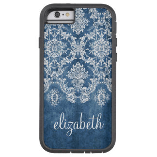 Sapphire Blue Vintage Damask Pattern and Name Tough Xtreme iPhone 6 Case
