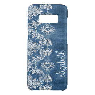 Sapphire Blue Vintage Damask Pattern and Name Case-Mate Samsung Galaxy S8 Case