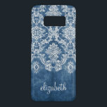 "Sapphire Blue Vintage Damask Pattern and Name Case-Mate Samsung Galaxy S8 Case<br><div class=""desc"">A vintage pattern with a chalkboard and lace design. Look closely to the flowers and leaves.A trendy design with jewel tone colors and elegance. Items are easier to customize when you replace all text and photos first. If your art still needs to be adjusted, click on the Customize This button....</div>"