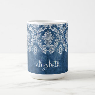 Sapphire Blue Vintage Damask Pattern and Name Classic White Coffee Mug