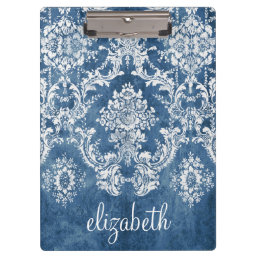 Sapphire Blue Vintage Damask Pattern and Name Clipboard