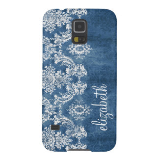 Sapphire Blue Vintage Damask Pattern and Name Galaxy S5 Case
