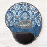 "Sapphire Blue Vintage Damask Pattern and Name Gel Mouse Pad<br><div class=""desc"">A vintage pattern with a chalkboard and lace design. Look closely to the flowers and leaves.A trendy design with jewel tone colors and elegance. Items are easier to customize when you replace all text and photos first. If your art still needs to be adjusted, click on the Customize This button....</div>"