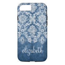 Sapphire Blue Vintage Damask Pattern and Name iPhone 8/7 Case