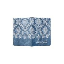 Sapphire Blue Vintage Damask Pattern and Name Passport Holder