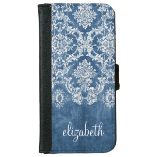 Sapphire Blue Vintage Damask Pattern and Name iPhone 6 Wallet Case