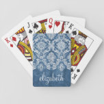 "Sapphire Blue Vintage Damask Pattern and Name Playing Cards<br><div class=""desc"">A vintage pattern with a chalkboard and lace design. Look closely to the flowers and leaves.A trendy design with jewel tone colors and elegance. Items are easier to customize when you replace all text and photos first. If your art still needs to be adjusted, click on the Customize This button....</div>"