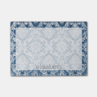 Sapphire Blue Vintage Damask Pattern and Name Post-it® Notes