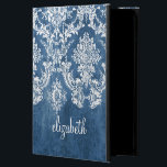 "Sapphire Blue Vintage Damask Pattern and Name Powis iPad Air 2 Case<br><div class=""desc"">A vintage pattern with a chalkboard and lace design. Look closely to the flowers and leaves.A trendy design with jewel tone colors and elegance. Items are easier to customize when you replace all text and photos first. If your art still needs to be adjusted, click on the Customize This button....</div>"