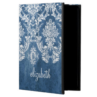 Sapphire Blue Vintage Damask Pattern And Name Powis Ipad Air 2 Case at Zazzle