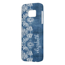 Sapphire Blue Vintage Damask Pattern and Name Samsung Galaxy S7 Case