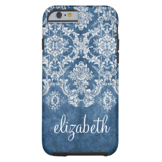Sapphire Blue Vintage Damask Pattern and Name Tough iPhone 6 Case