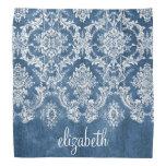 Sapphire Blue Vintage Damask Pattern and Name Bandana