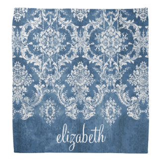 Sapphire Blue Vintage Damask Pattern and Name Do-rag