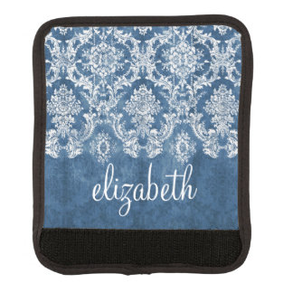 Sapphire Blue Vintage Damask Pattern and Name Luggage Handle Wrap