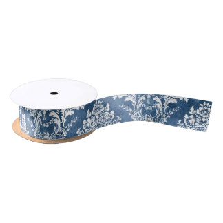 Sapphire Blue Vintage Damask Pattern and Name Satin Ribbon